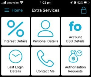 Extra Services screen in App